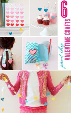 6 DIY paint chip Valentine Day crafts with /dlt/ and http://blog.thecelebrationshoppe.com #easyvalentinecrafts #valentinefavors #paintchipcrafts #paintchips