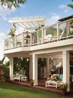 - How To Build A Backyard Retreat on HGTV. Love the double deck for two areas for sitting, shade and a riding toy area for kids.