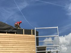 Larch cladding on the outside. Larch Cladding, Panel Walls, Netherlands, Fair Grounds, Construction, Fun, House, The Nederlands, Building