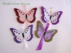 Set di 4 Farfalle in feltro. Farfalle di MielikkisForest su Etsy