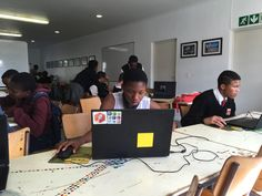 Young learners giving Tinkercad a go for the first time at the Vision Afrika Tech Day