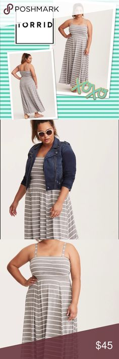 New, by torrid🎀 Striped jersey maxi dress New, with tags gry/wht striped maxi dress by torrid. Gorgeous dress for Spring/Summer. Dress had removable straps if you want to go strapless. Size 12-14 (torrid size 0) torrid Dresses Maxi