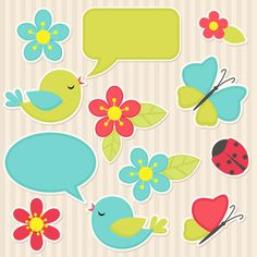 Find Vector Scrapbook Elements Flowers Birds stock images in HD and millions of other royalty-free stock photos, illustrations and vectors in the Shutterstock collection. Printable Labels, Printable Stickers, Printable Paper, Planner Stickers, Printables, Free Printable, Paper Crafts, Diy Crafts, Clipart
