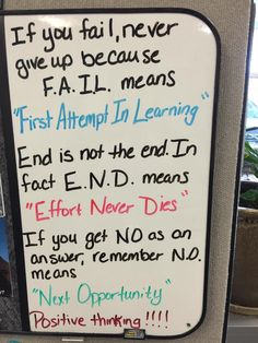 "If you fail, never give up because F.A.I.L. means ""First Attempt In Learning"" End is not the end. In fact E.N.D. means ""Effort Never Dies"" If you get NO as an answer, remember N.O. means ""Next Opportunity"" Positive thinking!!!"
