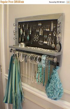 *****This is a MADE TO ORDER listing. You will receive a jewelry organizer the same as the one pictured above (except you get to pick the stain, #necklaceholder