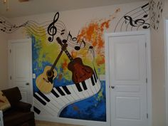 Musik Keyboard and Guitar Splash mural idea by Sharon Csiszer Ten Simple Steps to Taking Cuttings Th Mural Art, Wall Murals, Tattoo Musik, Wall Drawing, Art Drawings, Kids Room Murals, Music Wall Art, School Murals, Music Painting