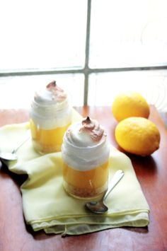 Lemon Meringue Pie in a Jar -with recipe!    Edit: use tiny jars! This is incredibly sweet, and a single serving is way too much in a normal small jar.
