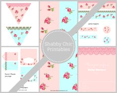 Free Shabby Chic Party Printable Pack Collection Blue and Pink