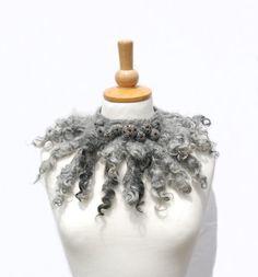 Felted collar felt necklace felted wool scarf grey by AnnaWegg
