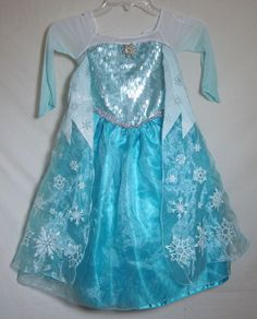 Disney Store Elsa Deluxe Costume Princess Dress + Cape Frozen Long Gown Child 4 #DisneyStore #Dress