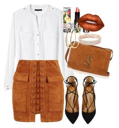 """""""Untitled #463"""" by dreamer3108 ❤ liked on Polyvore featuring Banana Republic, WithChic, Aquazzura, Yves Saint Laurent, Lime Crime, Pieces and Anne Klein"""