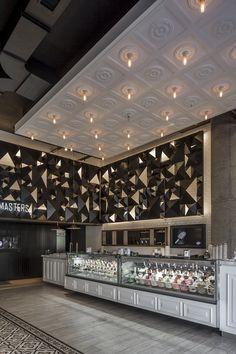 Lucciano´s Icecream coffee shop, Olivos on Behance Bakery Decor, Bakery Interior, Cafe Interior Design, Cafe Design, Interior And Exterior, Resturant Interior, Kiosk Design, Bakery Design, Retail Design