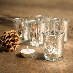 SET OF 36 Silver Mercury Glass Candle Votive Mercury Glass Tea Light Votive…