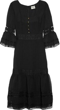 Alice  by  Temperley  Esmeralda Pleated Chiffon and Lace Dress @Lyst