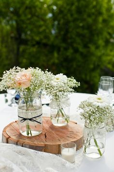 Lace and pearl mason jars - FULL CENTERPIECE SET - 36 jars. $150.00, via Etsy.