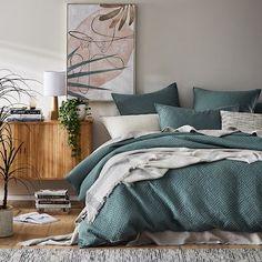 Home Republic - Colvin Quilted Quilt Cover Bedroom Colour Palette, Bedroom Colors, Bedroom Ideas, Havana House, Duvet, Bedding, Teal Quilt, Home Republic, Single Quilt
