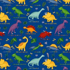 Blue Dinosaurs - 15yds, 100% Cotton, 44/45in