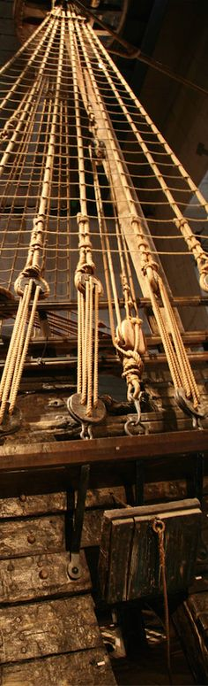 Miles of line that make up the standing rigging of a tall ship.