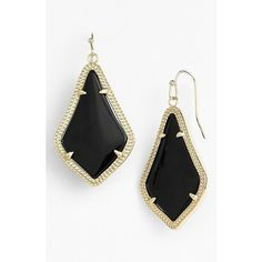 Kendra Scott 'Alex' Drop Earrings (73 CAD) ❤ liked on Polyvore featuring jewelry, earrings, black, black jewelry, 14 karat gold earrings, 14k jewelry, kendra scott jewelry and 14 karat gold jewelry