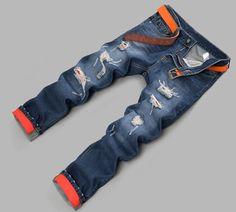 e0a916c266fa5 2014 New Men s Hip Hop Jeans Famous Brand Slim Straight Cotton Denim Dark  Blue Trousers Designer