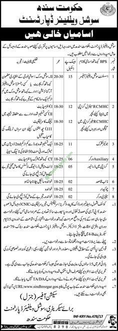 Sindh Social Welfare Department Jobs Nawaiwaqt Newspaper 31 January 2017