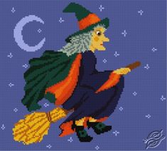 A Witch on a Broom - Free Cross Stitch Pattern
