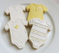 Onesie cookie favors for a baby shower or baby gender reveal party, decorated in gray and yellow, 1 dozen Summer Cookies, Fancy Cookies, Cute Cookies, Cupcake Cookies, Heart Cookies, Valentine Cookies, Easter Cookies, Birthday Cookies, Christmas Cookies