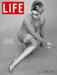 "onlyediesedgwick:  Mock Life magazine cover for November 26, 1965. This issue featured Edie Sedgwick's ""Girl in Black Tights"" iconic photo shoot photographed by Fred Eberstadt, and was the first outlet in which her title as superstar became national. Wearing a long sleeved dress by Rudi Grenich, ""I swish them the way other girls swish their hair,"" she said of her chandelier earrings by Kenneth Jay Lane."