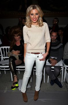 Mollie King. White Jeans in winter? Um, I think YES!