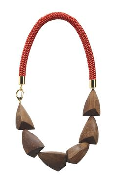 Red And Natural Legno Wood Necklace by Marni for Preorder on Moda Operandi