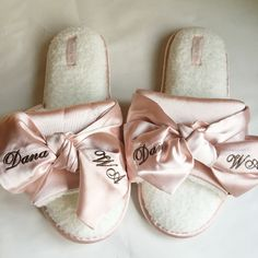 Free Shipping 5 pairs lot pink blue Embroidery logo wedding party bride Satin slippers customized bridesmaid gifts-in Party Favors from Home & Garden on Aliexpress.com | Alibaba Group Bride Slippers, Spa Slippers, Sewing Slippers, Bridesmaid Slippers, Bridal Party Getting Ready, Bride Lingerie, Bride Sister, Wedding Logos, Bridesmaid Gifts