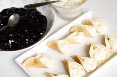 Pancakes with clotted cream and cherry sauce (Atayef bel Ashta w Karaz)