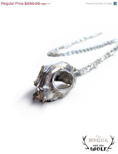 MASSIVE SALE -- Silver Cat Skull Necklace, skull necklace, cool fashion accessory, animal skull, kitten skull pendant, statement piece, edg. $161,00, via Etsy.