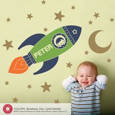 Rocket Boy Wall Decal Outer Space Nursery by graphicspaces on Etsy, $55.00