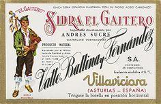 Etiqueta de exportación de Sidra Champagne El Gaitero a Venezuela, 1970 Asturias Spain, Rhineland Palatinate, Cider Making, Basque Country, Spanish Food, Paraiso Natural, Ring, Venezuela, News