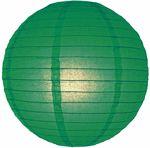 "24"" Dark Green Even Ribbing Round Paper Lantern - 3.48- Emerald City"