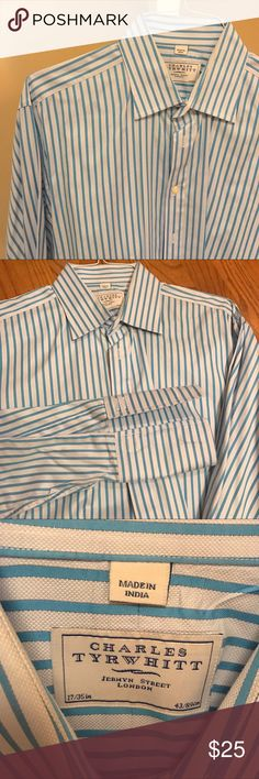 MEN | Aqua Striped French Cuff Shirt Deep aqua color striped with a lighter aqua pattern.  Super cool fabric, and French cuffs!  Fresh from the dry cleaners, this shirt is EUC with no signs of wear.  17/35 in Charles Tyrwhitt Shirts Dress Shirts