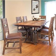 International Furniture Direct 900 Antique 7 Piece Dining Set