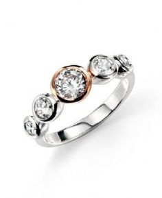 Sterling Silver and Rose Gold Plated Cubic Zirconia 5 Stone Ring. Sizes K to R 1/2