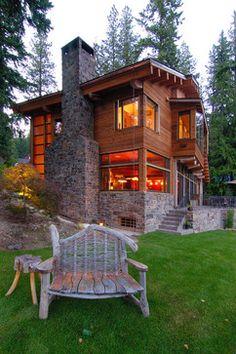 Ideas For Exterior Design House Modern Cabin Design Exterior, Rustic Exterior, Stone Exterior, Exterior Paint, Traditional Exterior, Traditional House, Traditional Design, Chalet Modern, Modern Cabins