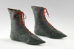 Boots Date: Culture: European Medium: leather Dimensions: 8 x 10 in. x cm) Credit Line: Brooklyn Museum Costume Collection at The Metropolitan Museum of Art, Gift of the Brooklyn Museum, Gift of Herman Delman, 1954 Regency Fashion, Vintage Shoes, Vintage Outfits, Tudor Costumes, Shoe Boots, Ankle Boots, Old Shoes, Women's Shoes, Walking Boots