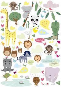 Vente Kit stickers enfants Tendre jungle par Mzelle-fraise