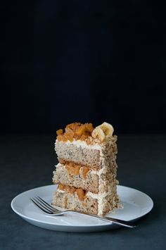 Banana Pineapple Cake (Banana Cake layers with Ginger Pineapple Filling and Ginger Milk Frosting)
