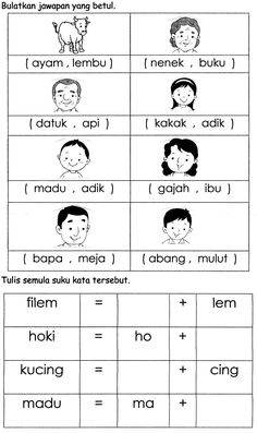 suku kata bahasa malaysia kindergarten pdf - Google Search Fall Preschool Activities, Preschool Programs, Preschool Colors, Preschool Writing, Preschool Printables, Kindergarten Worksheets, English Grammar For Kids, English Worksheets For Kids, Reading Worksheets
