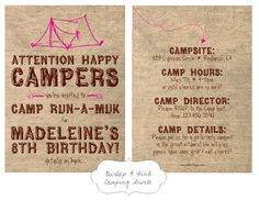 Cute butterfly flowers birthday party invitation birthday party nellie design in demand camping party invites stopboris Images