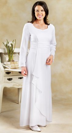 Versity Temple Dress- Versity  Fully lined LDS  georgette  temple dress with sweeping front and rouching at the waist.  Stunning.  Zipper back. 100% polyester. Beautiful for the fuller figure. Hand wash, drip dry.