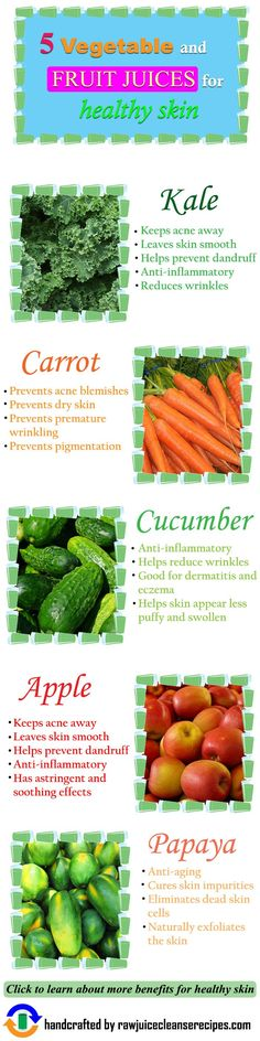 5 Vegetable and Fruit Juices for Healthy Skin: Click for more info as well as juice recipes for healthy skin! http://juicerblendercenter.com