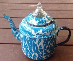 Extremely Rare Blue & White Graniteware Perculating Coffee Pot