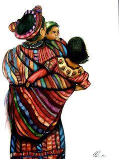 The Family ~ Claudia Tremblay Aztec Art, American Art, Art For Kids, Art Prints, Indigenous Art, Guatemalan Art, Art, African Art, Mother Art