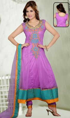Pale Bluish Purple Net Long Anarkali Suit  #indianchuridar #casual-anarkali-suits Price:British UK Pound £105, Euro130, Canada CA$194, Indian Rs.9612